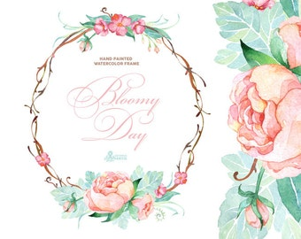 Bloomy Day. Watercolor Frame, wreath, wedding invitation, floral frame, greeting card, diy clip art, flowers, peonies, mint and pink, quotes