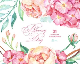 Bloomy Day: 31 Floral Elements, hydrangea, peonies, watercolor flowers, wedding invitation, greeting card, diy clip art, mint and pink