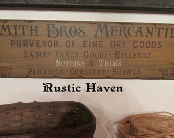 """Primitive Vintage Advertising Style Wooden Sign ~ Smith Bros. Mercantile 9.25"""" x 32"""""""
