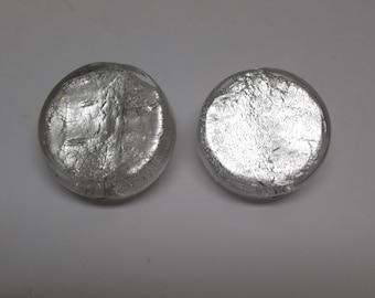 Silver Foil Murano Glass Coin Clip Earrings