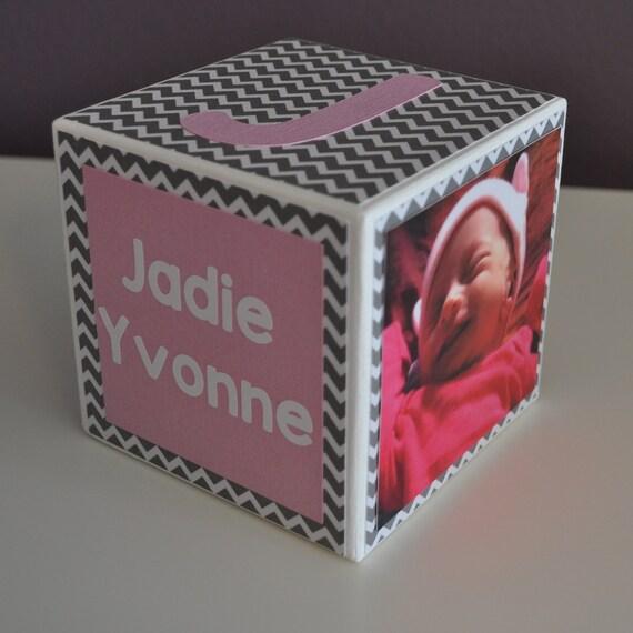Personalized Baby Birth Announcement, Girl, Birthday, Wood Photo Block, Nursery Decor, Newborn Keepsake, Custom Newborn Gift, Pink, Chevron