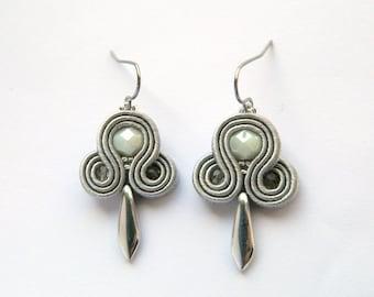 Silver earrings, gray earrings, dangle earrings, small earrings, embroidered earrings, soutache earrings, boho earrings, chic earrings