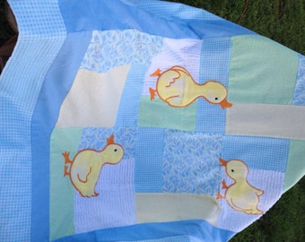 Personalized Ducky Flannel Baby Quilt