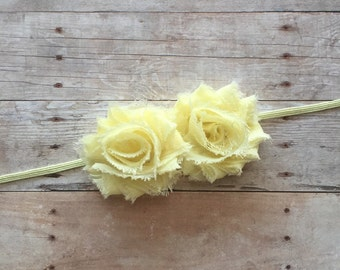 Light Yellow Baby Girl Headband, Mini shabby chic headband, Baby Headband, Newborn Headband, Shabby Chic, Skinny Headband, Yellow Headband