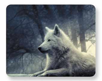 Wolf mouse pad, white wolf mousepad, rubber mousepad, desk accessories, Rectangle mousepad, Personalized computer accessories, office decor