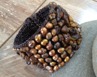 Handmade beaded bracelet with gold light brown and dark brown beads