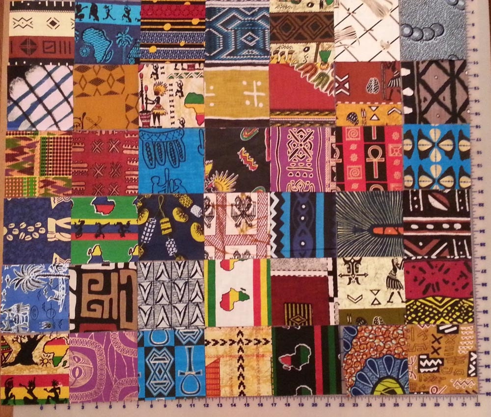 Charm Pack Of 5 Squares Of 42 West African Fabrics