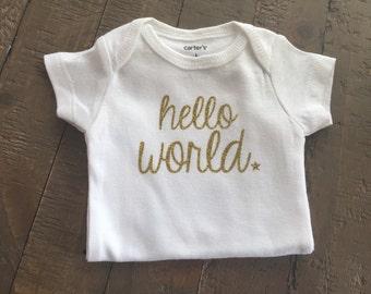 Hello World Gold Newborn bodysuit