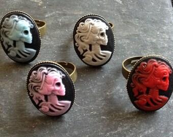 GOTHIC Steampunk Cameo Skeleton Bronze Adjustable Ring handmade. Gothic lady skull ring.