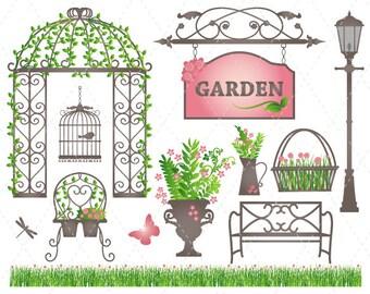Digital Garden Clip Art Pink and Green Garden Clipart Flower Pot Grass and Flower Bird Cage Butterfly Dragonfly Scrapbooking Garden 0134