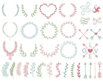 Digital Laurel Wreath Clip Art Hand Drawn Laurel Wreath Leaf Clipart Leaf Branches Laurel Branches Arrow Clipart pink blue green wreath 0152