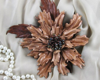 Handmade Shimmery Mocha Genuine Leather Flower  Pin / Brooch. 3rd Leather WeddingAnniversary, Gift for Her