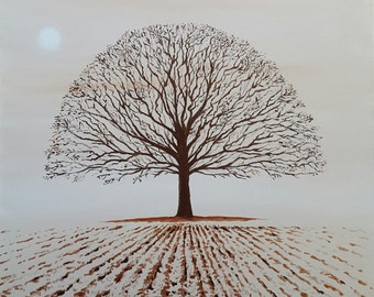 Morning Gold Oak Tree Original Acrylic Deep Edge Canvas Painting 50 x 50cm