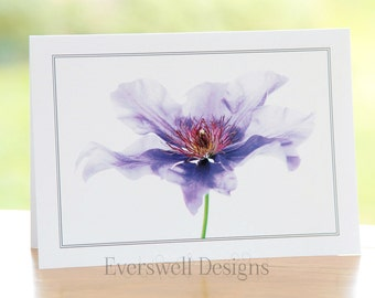 Clematis flower photograph, blank inside, A5 rectangular greetings card