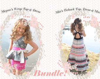 BUNDLE: Megan's Wrap Top & Dress AND Mia's Tieback Top, Dress and Maxi. PDF sewing pattern for toddler girl sizes 2t - 12.