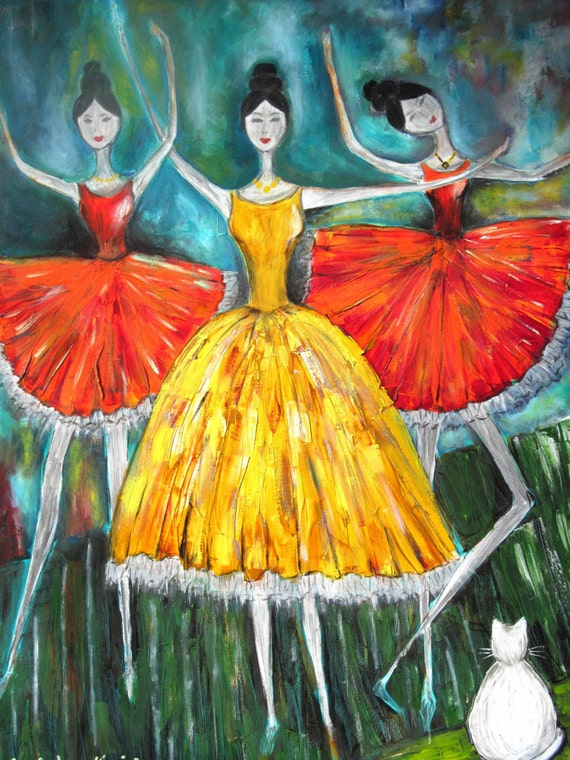 Dancers 3.  Original oil painting. Large canvas art. canvas oil. Colours; red, orange, yellow, turquoise, blue, green. ready to ship.