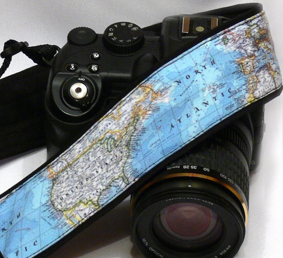 World Map Camera Strap. Blue Camera Strap. SLR, DSLR Camera Strap. Gift For Photographer.