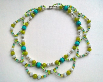 Beaded Collar (lime-green turquoise white)