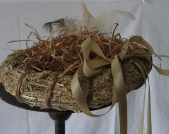 Rustic wedding, ringbearer pillow alternative, bird's nest, feathers, country, woodland, forest, natural, woodsy, adirondack wedding