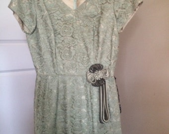 Vintage Sage Lace Dress , size small