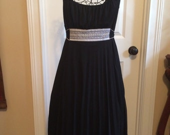 Accordian Pleat Black Dress, size L