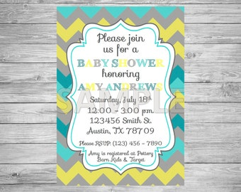 Grey, Yellow and Blue Baby Shower Invitation, Printable Grey, Yellow and Blue Baby Shower Invitation, Grey, Yellow and Blue Chevron Invite