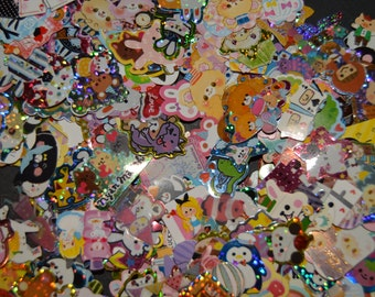 100 Kawaii Sticker Sack Sticker Flakes