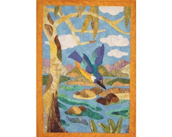 Kingfisher Blues is an appliqued and quilted wall hanging pattern.