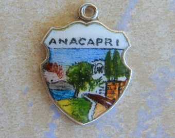 Anacapri Enamel Silver Travel Shield Charm Vintage Village on Capri Italy