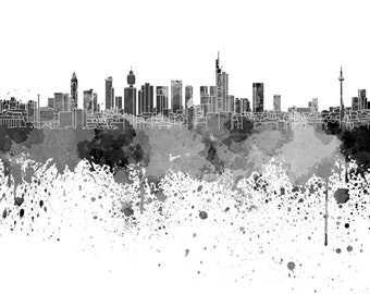 Frankfurt skyline in watercolor on white, 8 monochrome colors, and full color 8x10 in. to 12x16 in. Poster Wall art Print Art - SKU 0837