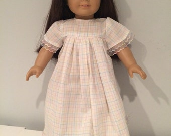 18-inch Doll Clothes - Pastel Plaid Nightgown - FREE U.S. SHIPPING