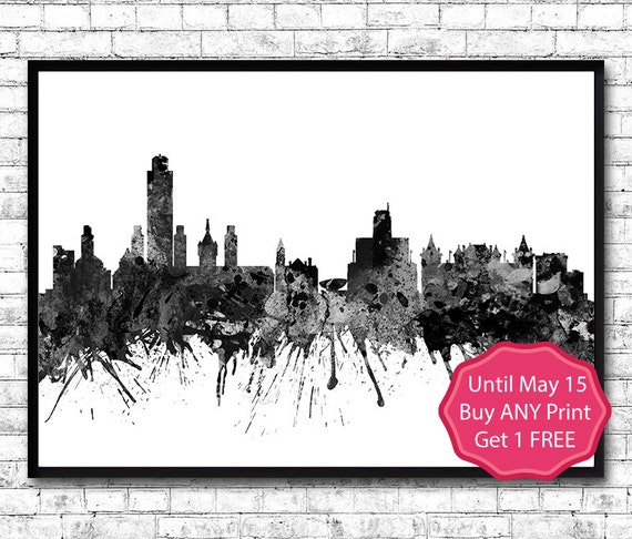 Albany New York Black Watercolor Print City Skyline By Artsprint