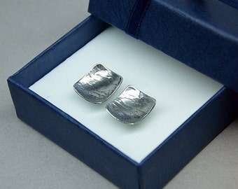 stamped sterling silver square earrings