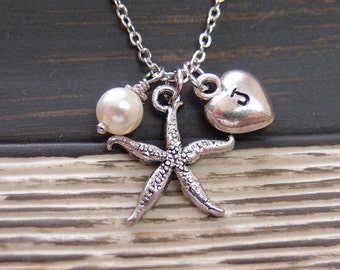 initial necklace, silver starfish necklace, Swarovski cream pearl, nautical jewelry, gifts for bridesmaid, wedding on beach