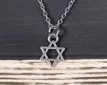 tiny Star of David necklace, long necklace option, Star of David jewelry, magen david, jewish jewelry, Bat Mitzvah gift, small Star of David