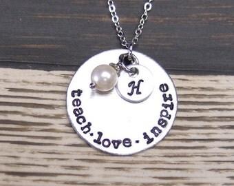 initial necklace, teach love inspire, teacher necklace, Swarovski cream pearl, teacher gift, graduation, hand stamped, teacher jewelry
