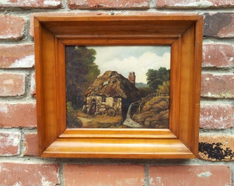 Vintage Original Oil Painting On Board European Cottage Water Wheel Hamlet
