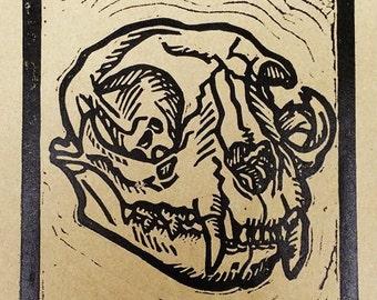 Cat Skull Linocut Print (Brown Paper)