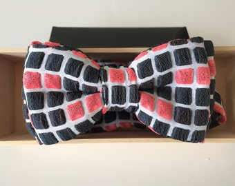 Luxury Black, Bright Orange, and White Square Geometric Bow Tie for Baby, Boys, and Adults