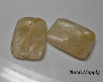2 Faceted Tan Quartz Gemstone Beads, 25mmx18mm Faceted Rectangle Gemstone Beads, Jewelry Supplies, Jewelry Making, Gemstones,