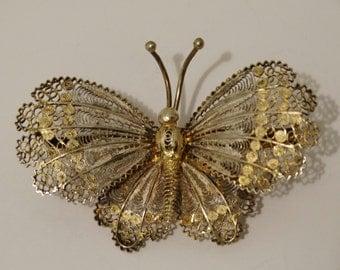 1940's Italy 800 Sterling Filigree 3D Butterfly Pin/Brooch.