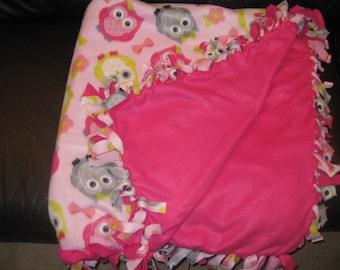 Pink Owl Fleece Tie Blanket