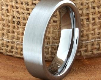 Wedding Band Flat Satin Finish Ring Customized Tungsten Band Mens Tungsten Ring Mens Wedding Ring Laser Engraving Anniversary Band Wedding