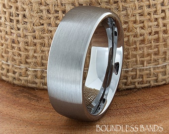 Tungsten Wedding Ring Dome Shaped Brushed Mens Wedding Band Custom Engraved Any Design Couple Wedding Band For Him Modern Unique Ring 8mm