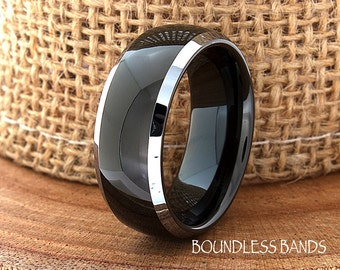 Two Tone Wedding Tungsten Band Black Polished Domed Ring Custom Laser Engraved Tungsten Anniversary Ring Couple Ring Mens Ring 8mm His Hers