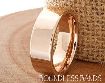 Tungsten Wedding Band Rose Gold Pipe Cut High Polished Modern Classic Band Design Laser Engraved Ring Mens Anniversary BandRose Gold Plated