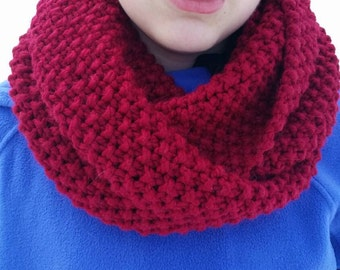 Cranberry Red Chunky Infinity Scarf