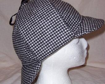 Deerstalker Hat, Black & White Houndstooth; Sherlock Holmes, Basil Rathbone-inspired