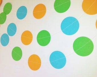 JUST KIDDING Paper Circle Garland - Party, Shower, Nursery, Children's Room decoration