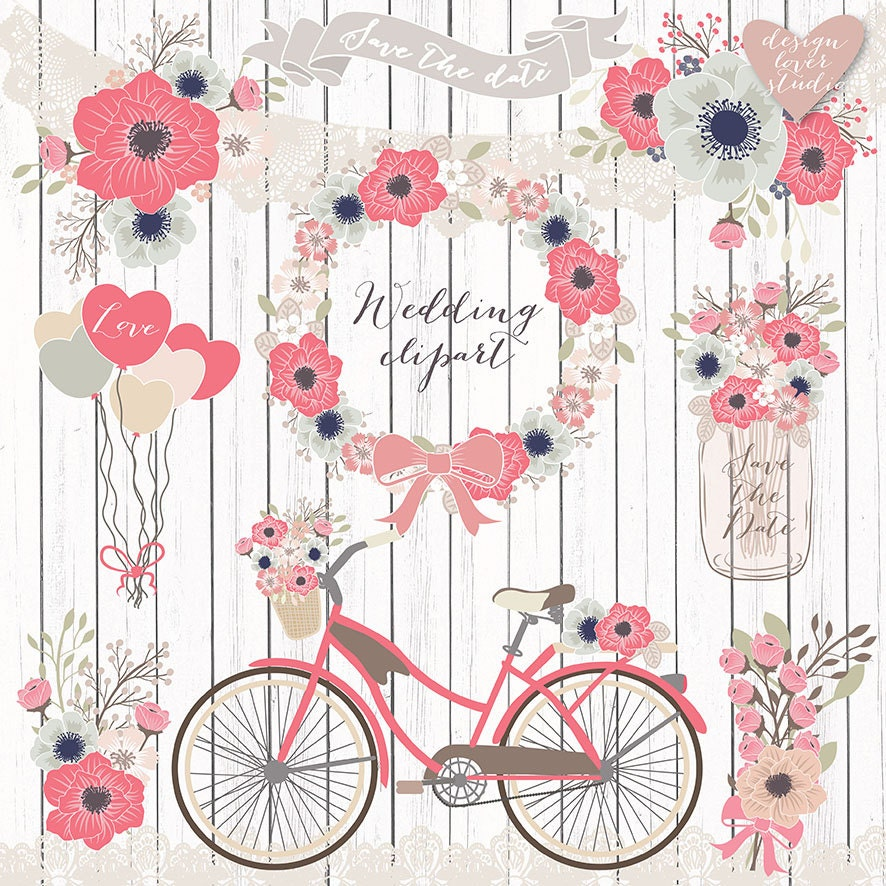 Premium vector rustic wedding clipart bicycle clipart shabby - Cuadros shabby chic ...